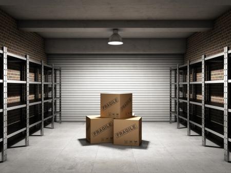 화물 박스와 선반 창고 스톡 콘텐츠