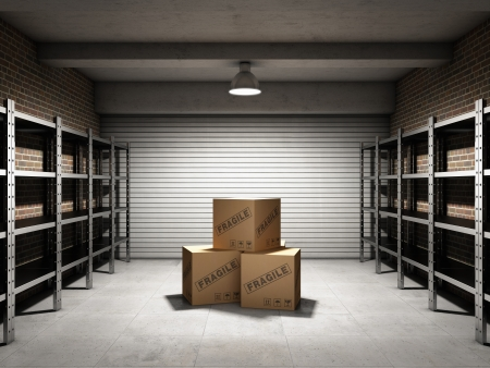 fragile industry: Storage room with boxes and shelves for cargo