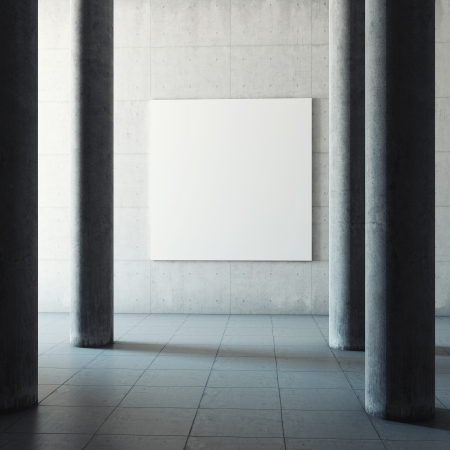 Large concrete hall with advertising billboard photo