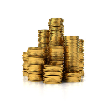 Gold coins in stack isolated on white background photo