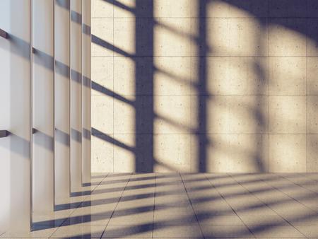 Die architektonische Gestaltung der modernen Betonhalle mit Panoramafenster Standard-Bild - 25887476
