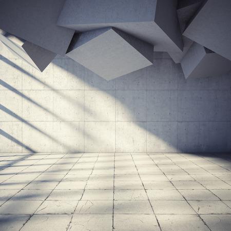 추상적 인 기하학과 현대적인 콘크리트 홀 건축 설계