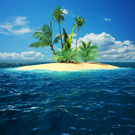 Paradise island in ocean with palm trees