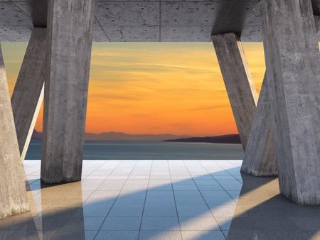 바다의 경관을 감상 할 수있는 테라스의 건축 설계 스톡 콘텐츠