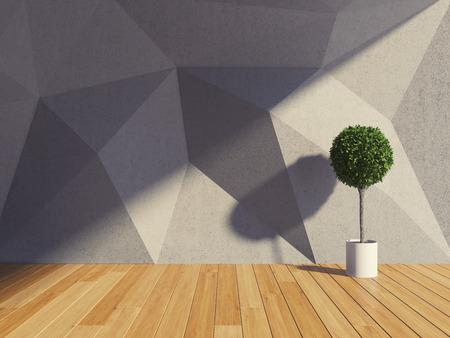 콘크리트 벽과 기하학적 형태와 추상 현대적인 인테리어 룸 스톡 콘텐츠