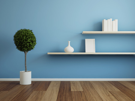 Interior room with wooden shelf