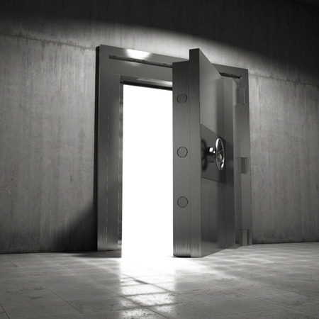 대형 철강 문이 볼트로 열립니다