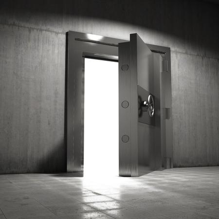 Large steel door opens into vault