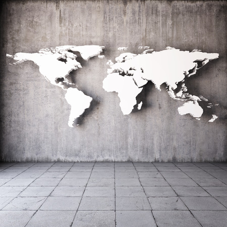 Abstract world map in room with concrete walls