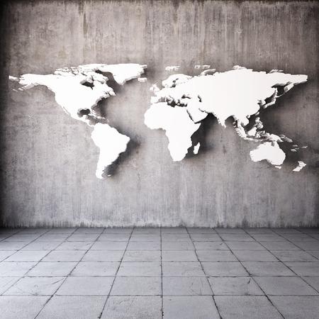 edificio industrial: Resumen mapa del mundo en la habitación con paredes de hormigón