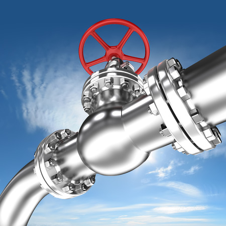 Pipeline with red valve on sky background
