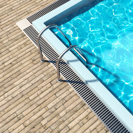 decking: Swimming pool with wooden deck and metal stair