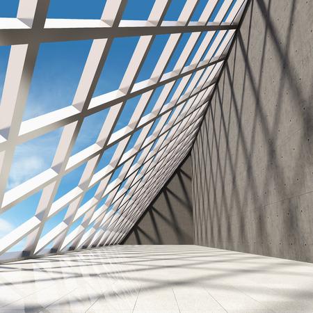 Architectural design of modern concrete hall with panoramic window 版權商用圖片 - 30573274