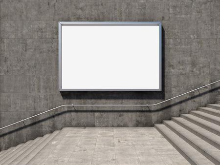 Blank panneau publicitaire sur le mur de béton avec marches Banque d'images - 30573280