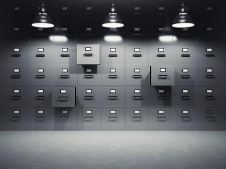 Camera con file di armadi illuminati da lampade Archivio Fotografico - 30573282