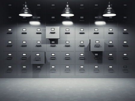 Room with file cabinets illuminated by lamps