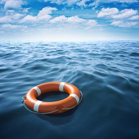 Lifebuoy in blue sea