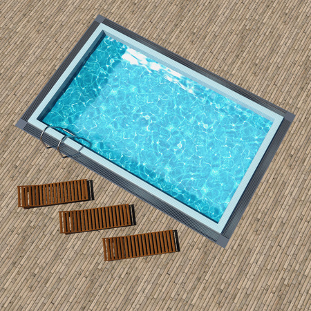 Swimming pool with wooden deck top view photo