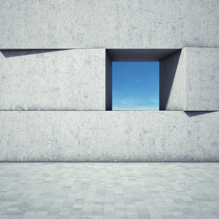 Abstract window in concrete blocks Stockfoto