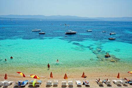 Amazing beach on the Adriatic island Brac in Croatia 스톡 콘텐츠