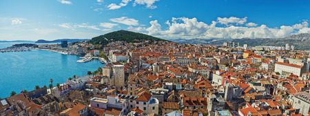 Amazing panoramic top view of the historic city of white stone Split in Croatia photo