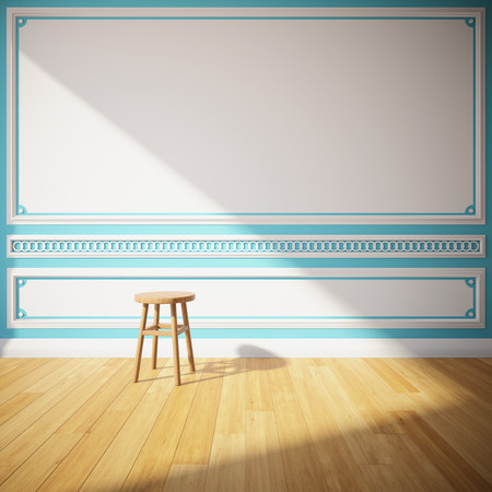 Interior room with decorative wall and wooden stool Stock Photo