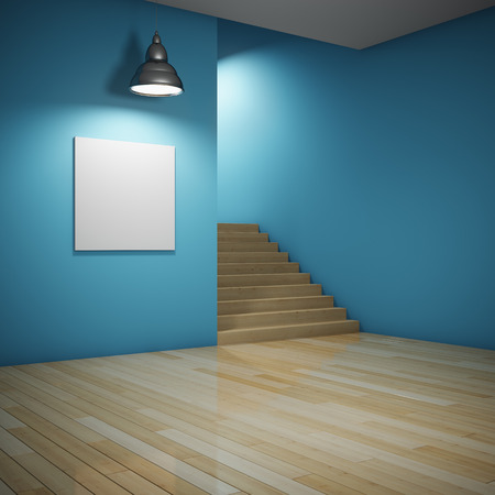 Interior of room with blank billboard and staircase leading up photo