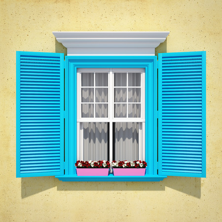 Blue window with open wooden shutters and flowers. Retro style. Stockfoto