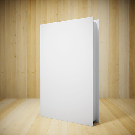 Blank book in wooden showcase photo