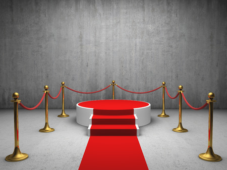 dirty carpet: Podium for winner with red carpet in concrete room Stock Photo