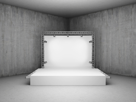 Blank trade exhibition stand with screen and spot lights in concrete room photo