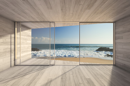 Empty modern lounge area with large bay window and view of sea photo