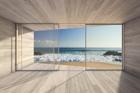 case moderne: Vuoto moderna area salotto con grande vetrata e vista mare