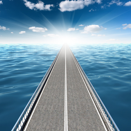 Abstract road in the sea goes far beyond the horizon Stock Photo