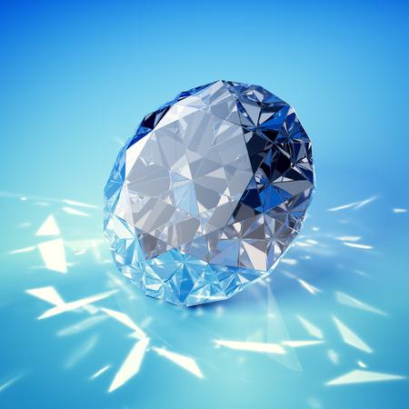 Brilliant diamond on blue background 스톡 콘텐츠