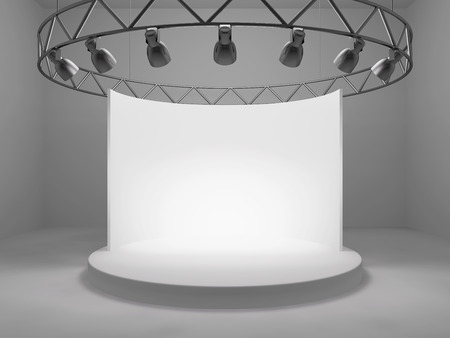 spot lights: Blank trade exhibition stand with screen and spot lights