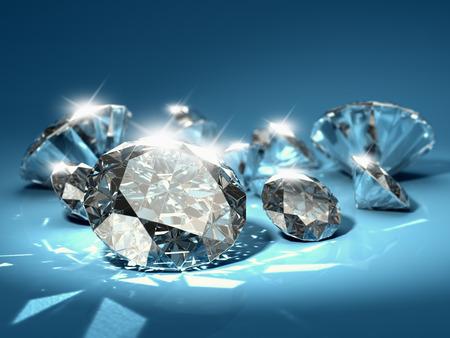 piedras preciosas: Diamantes brillantes en el fondo azul Foto de archivo