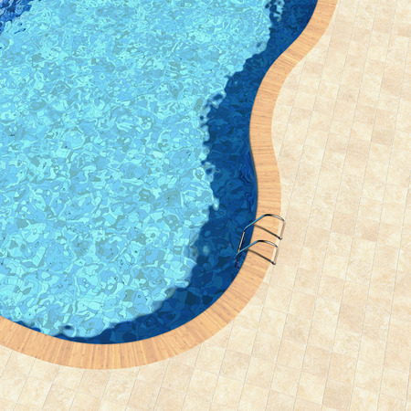 3d swimming pool: Beautiful view from the top of the swimming pool Stock Photo