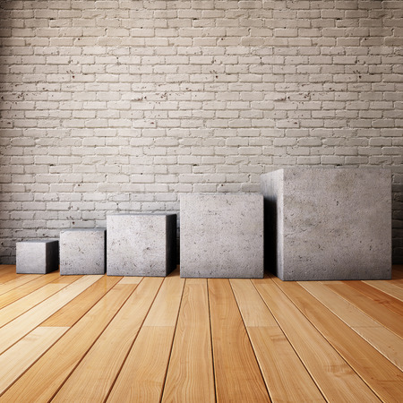 Interior room with concrete cubes in the form of steps
