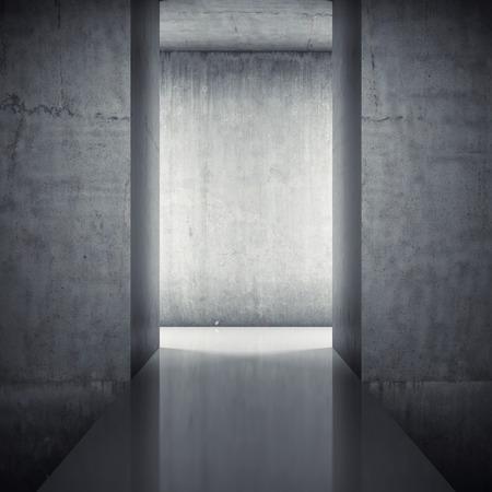 Podium in interior with concrete walls 스톡 콘텐츠