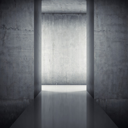 Podium in interior with concrete walls Stock Photo