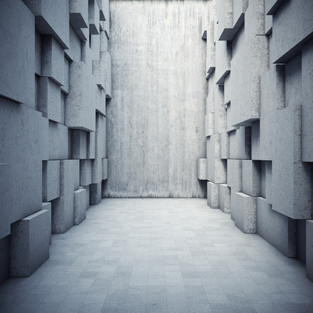 worn structure: Architectural design of the hall with elements of the cubes Stock Photo