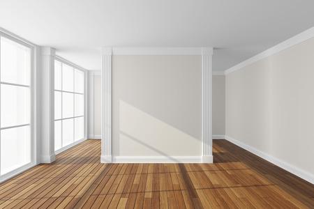 Empty modern hall with big window