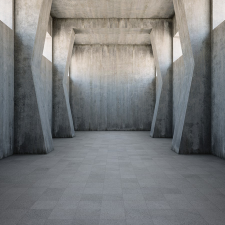 Concrete corridor with old worn walls