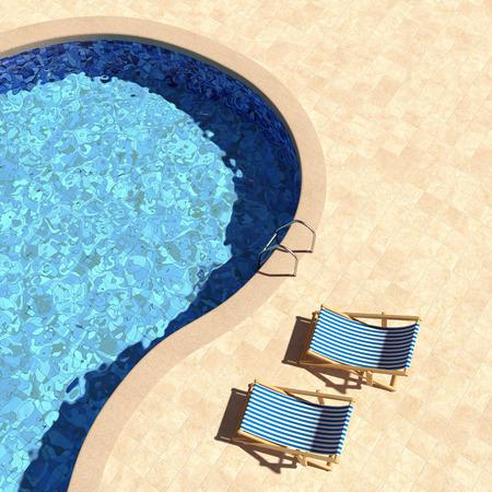 deckchairs입니다 평면도와 수영장
