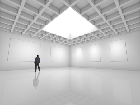 blank canvas: Hall for exhibitions with blank canvas and figure of man