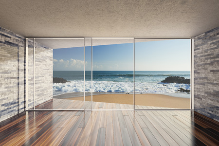 sea  ocean: Empty modern lounge area with large bay window and view of sea