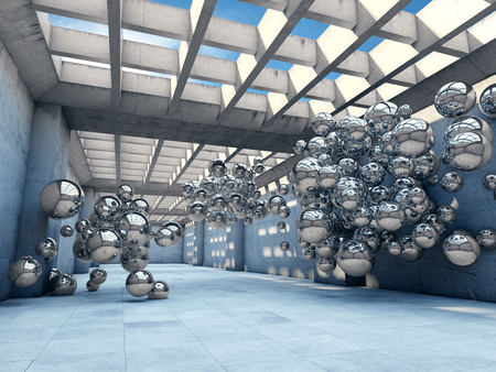 industrial building: Long concrete tunnel with metallic spheres. Futuristic concept. Stock Photo