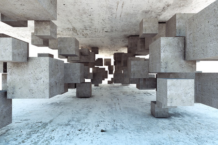 tunnels: Abstract geometric background of concrete cubes Stock Photo