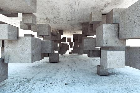 cubo: Fondo geométrico abstracto de los cubos de hormigón Foto de archivo